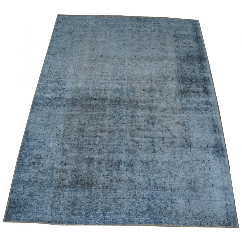Oriental vintage over dyed hand knotted organic dyed area rug. 330 x 234 cm