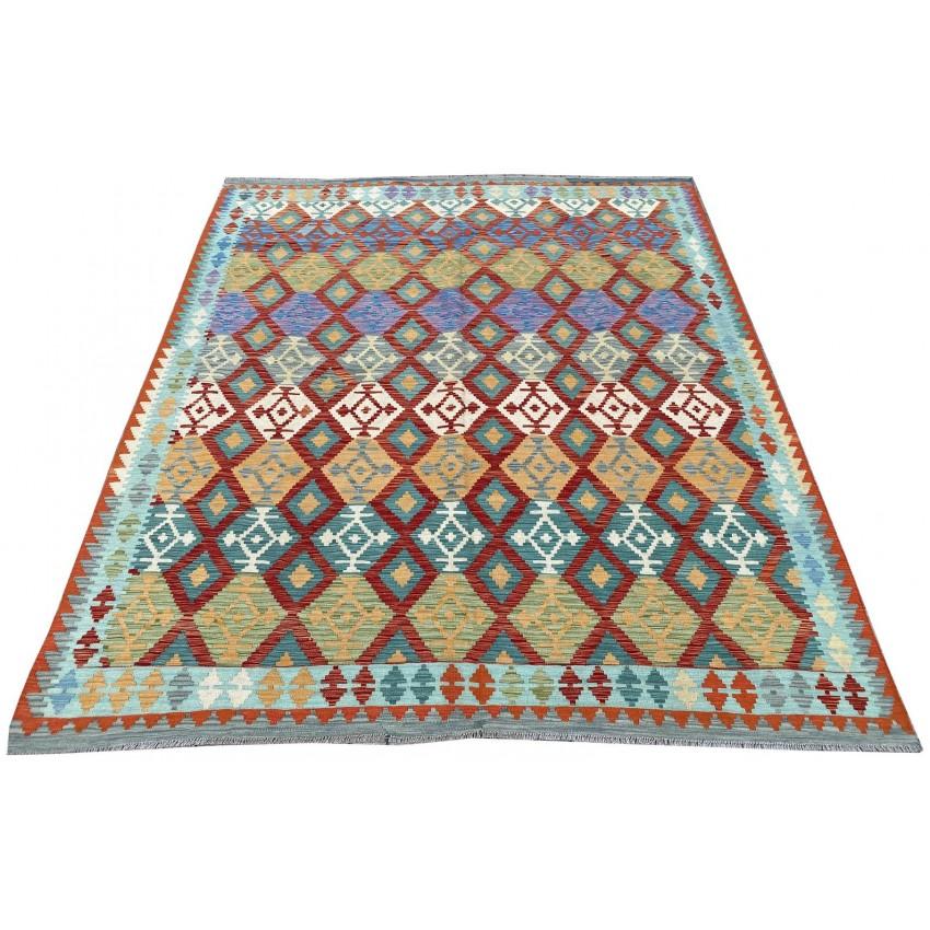 kilim de lana color orgánico hecho a mano . 290 x 250 centímetros