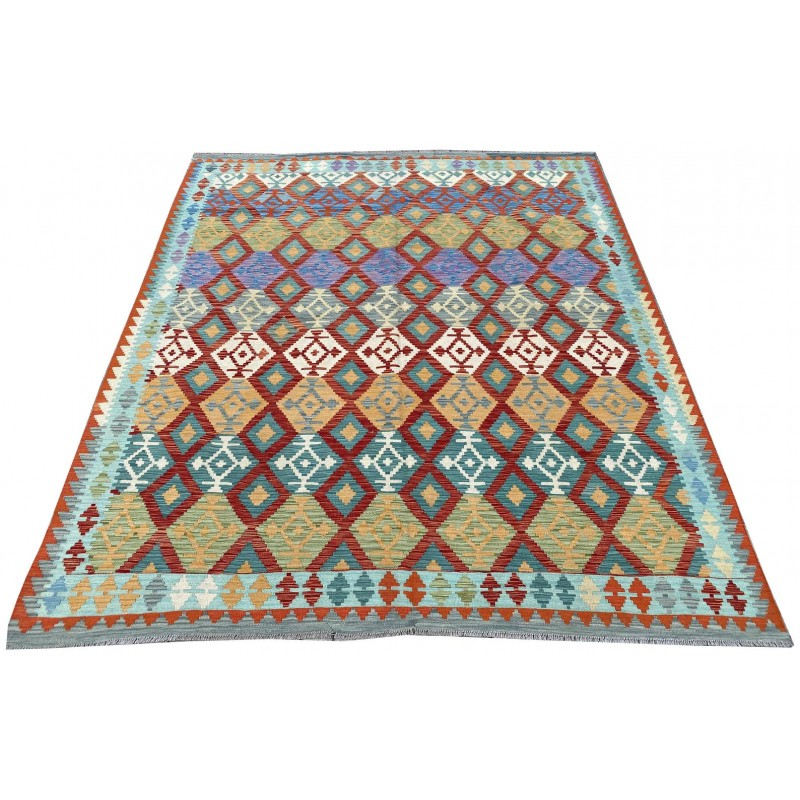 Contemporary beautiful hand made organic dyed woolen kilim. 290 x 250 cm