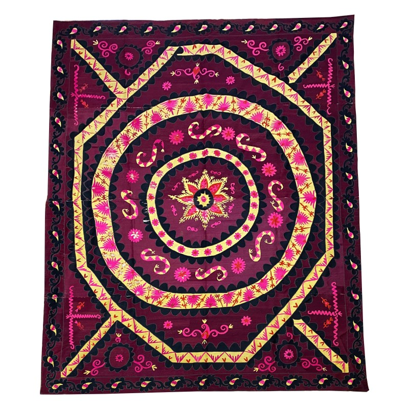 Vintage Suzani Embroidery in Cotton Hand made . 280 x 225 cm