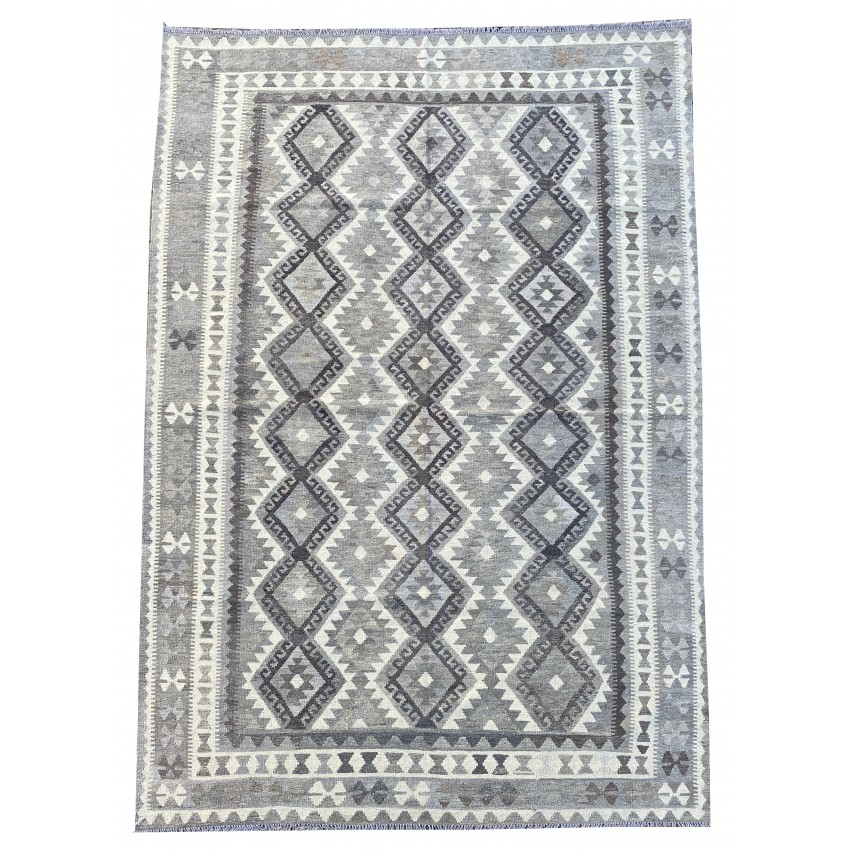Contemporary flat woven hand made kilim. 303 x 199 cm