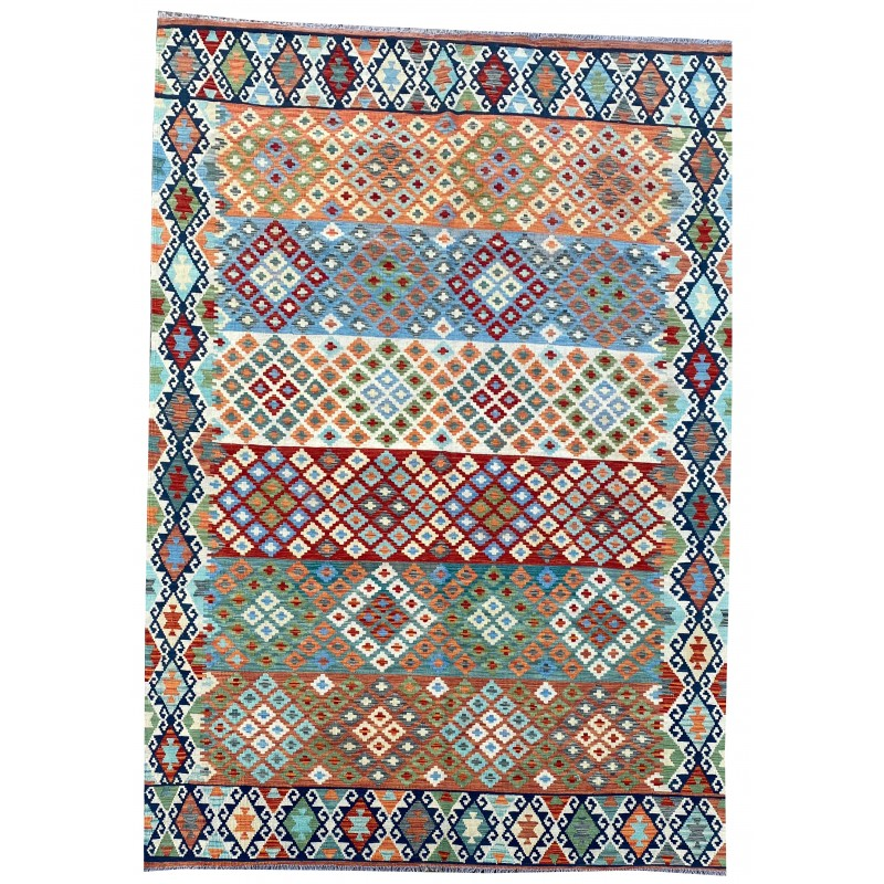 Contemporary flat woven hand made kilim. 289 x 207 cm