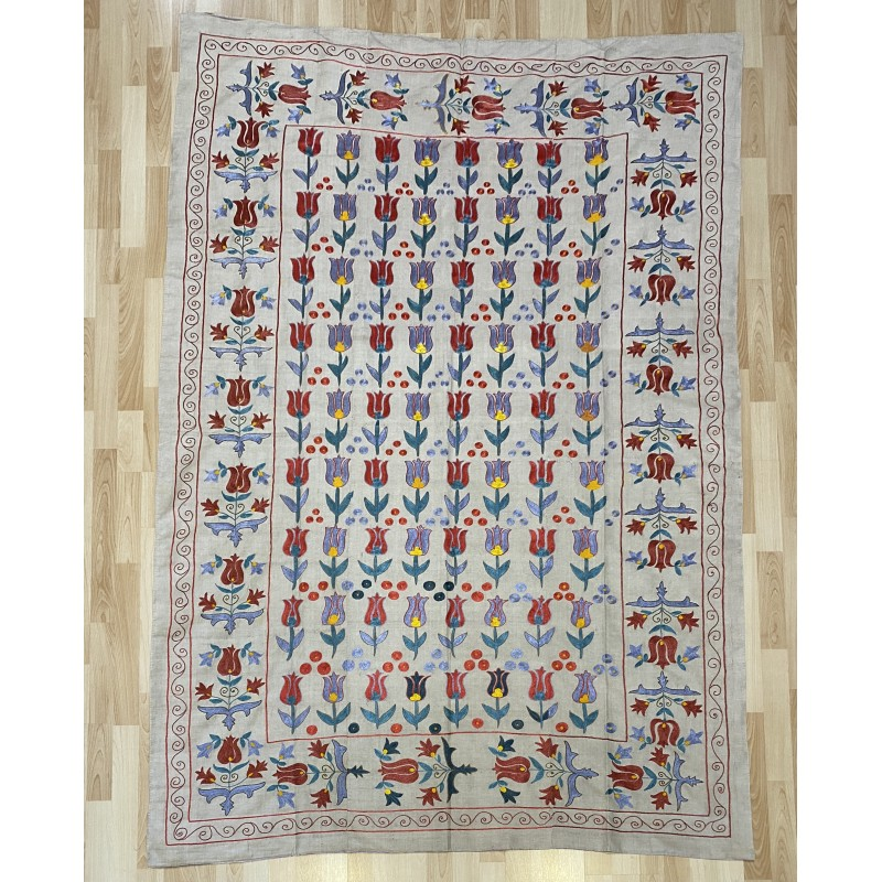 Suzani Silk Embroidered bed cover and wall hanging. 214 x 152 cm